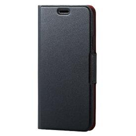 エレコム ELECOM iPhone XS 5.8インチ用 ソフトレザーカバー 薄型 磁石付 PM-A18BPLFUBK