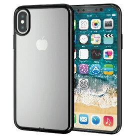 エレコム ELECOM iPhone XS 5.8インチ用 ソフトケース サイドメッキ PM-A18BUCTMBK
