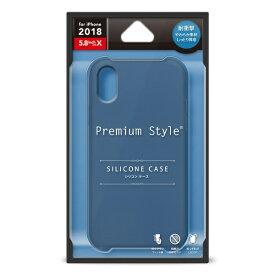 PGA iPhone XS 5.8インチ用 シリコンケース ネイビー PG-18XSC04NV