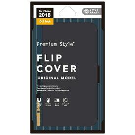 PGA iPhone XR 6.1インチ用 フリップカバー PUレザー PG-18YFP04BK カーボン調ブラック