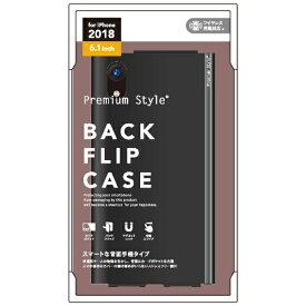 PGA iPhone XR 6.1インチ用 バックフリップケース PG-18YPU05BK ブラック