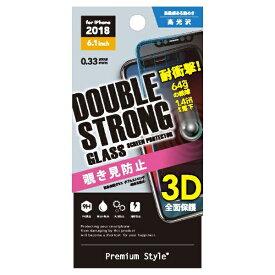 PGA iPhone XR 6.1インチ用 液晶保護ガラス 3Dダブルストロングガラス PG-18YGL14 覗き見