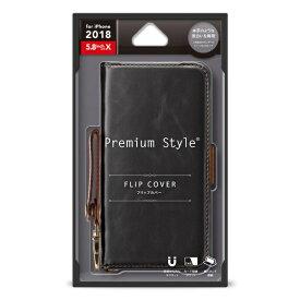 PGA iPhone XS 5.8インチ用 フリップカバー PUレザーダメージ加工 ブラック PG-18XFP03BK ブラック