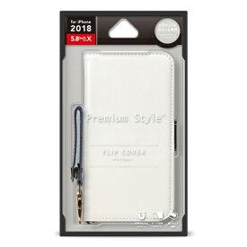 PGA iPhone XS 5.8インチ用 フリップカバー PUレザーダメージ加工 ホワイト PG-18XFP05WH ホワイト