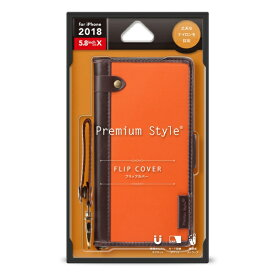 PGA iPhone XS 5.8インチ用 フリップカバー ナイロン生地 PG-18XFP22OR オレンジ