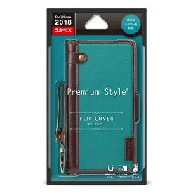 PGA iPhone XS 5.8インチ用 フリップカバー ナイロン生地 PG-18XFP23BL ブルーグリーン