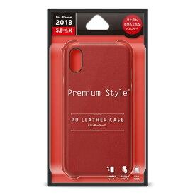 PGA iPhone XS 5.8インチ用 PUレザーケース ワインレッド PG-18XPU04RD レッド