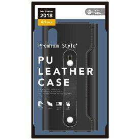 PGA iPhone XR 6.1インチ用 PUレザーケース グリップバンド付き ブラック PG-18YPU01BK ブラック