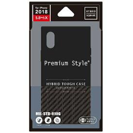 PGA iPhone XS 5.8インチ用 ハイブリッドタフケース カーボン調 ブラック PG-18XHB01BK カーボン調 ブラック
