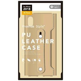PGA iPhone XR 6.1インチ用 PUレザーケース グリップバンド付き クリーム PG-18YPU03BE クリーム