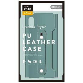 PGA iPhone XR 6.1インチ用 PUレザーケース グリップバンド付き グリーン PG-18YPU04GR グリーン
