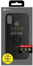 エアージェイ air-J iPhone XS 5.8インチ用 GAケース スマホリング付 BK