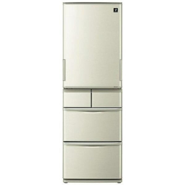 シャープ SHARP 《基本設置料金セット》SJ-W411E-N 冷蔵庫 プラズマクラスター冷蔵庫 ゴールド系 [5ドア /左右開きタイプ /412L][SJW411E]