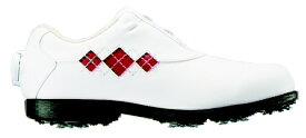 フットジョイ FootJoy 23.5cm/靴幅:4E レディース ゴルフシューズ eComfort Boa(ホワイト×レッド) #98625