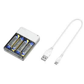 グリーンハウス GREEN HOUSE GH-BTB34A モバイルバッテリー ホワイト [microUSB /乾電池タイプ][GHBTB34AWH]