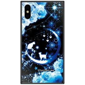 藤家 Fujiya iPhone XS 5.8インチ用 幻想デザイン ガラスハイブリッド D. 猫とブルームーン
