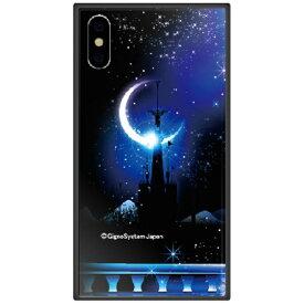 藤家 Fujiya iPhone XS 5.8インチ用 幻想デザイン ガラスハイブリッド I. 城とブルームーン