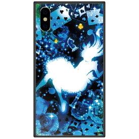 藤家 Fujiya iPhone XS 5.8インチ用 幻想デザイン ガラスハイブリッド W .クリスタルブルーアリス