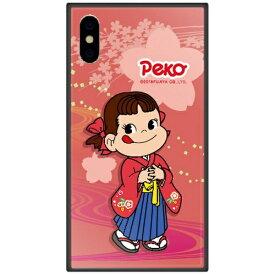 藤家 Fujiya iPhone XS 5.8インチ用 不二家 ガラスハイブリッド O. ペコ和柄ピンク