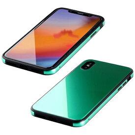 I-O DATA アイ・オー・データ 【ビックカメラグループオリジナル】iPhone XS 5.8インチ用 ガラス+TPU+アルミ複合素材ケース エメラルドグリーン BKS-IP18STGGAGN