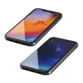 I-O DATA アイ・オー・データ 【ビックカメラグループオリジナル】iPhone XS 5.8インチ用 ガラス+TPU+アルミ複合素材ケース 2層印刷 星空(ブルー) BKS-IP18STGGANBU