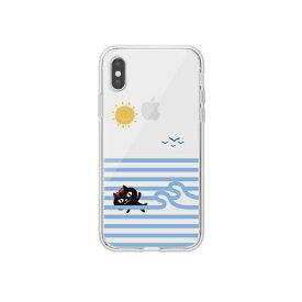 ROA ロア iPhone XS 5.8インチ用 ネコマンジュウクリアケース スイミング