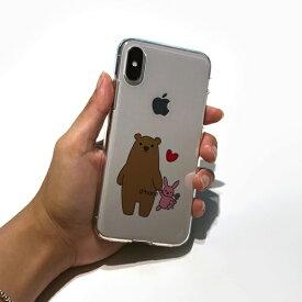 ROA ロア iPhone XS 5.8インチ用 ソフトクリアケース クマとウサギ