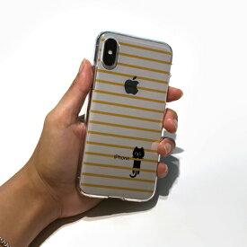 ROA ロア iPhone XS 5.8インチ用 ソフトクリアケース ボーダーネコ イエロー