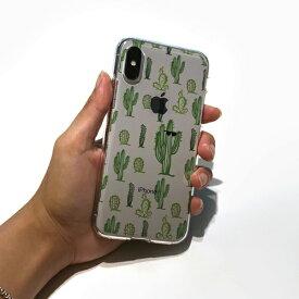 ROA ロア iPhone XS 5.8インチ用 ソフトクリアケース サボテンパターン