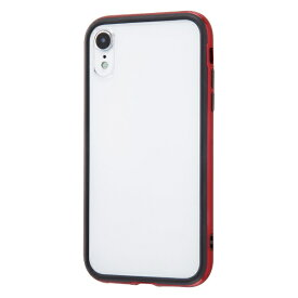 イングレム Ingrem iPhone XR 6.1インチモデル ハイブリッドバンパー+背面パネル (クリア) IN-P18HB/R レッド