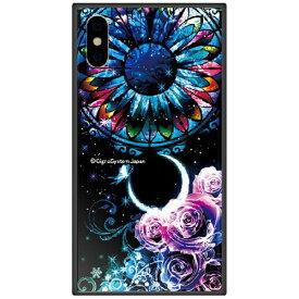 藤家 Fujiya iPhone XS Max 6.5インチ用 幻想デザイン ガラスハイブリッド B. ステンドグラスローズ