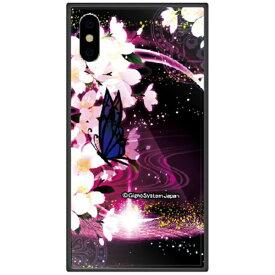 藤家 Fujiya iPhone XS Max 6.5インチ用 幻想デザイン ガラスハイブリッド E. 蝶と桜