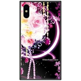 藤家 Fujiya iPhone XS Max 6.5インチ用 幻想デザイン ガラスハイブリッド H. 幻想ピンクローズ
