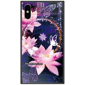 藤家 Fujiya iPhone XS Max 6.5インチ用 幻想デザイン ガラスハイブリッド J. 蓮と蝶
