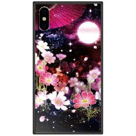 藤家 Fujiya iPhone XS Max 6.5インチ用 幻想デザイン ガラスハイブリッド L. 月夜の秋桜
