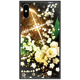 藤家 Fujiya iPhone XS Max 6.5インチ用 幻想デザイン ガラスハイブリッド O. 白薔薇クロス