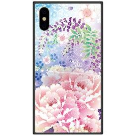 藤家 Fujiya iPhone XS Max 6.5インチ用 幻想デザイン ガラスハイブリッド Q. 明彩花吹雪