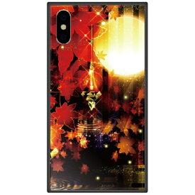 藤家 Fujiya iPhone XS Max 6.5インチ用 幻想デザイン ガラスハイブリッド R. 満月と紅葉