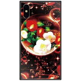 藤家 Fujiya iPhone XS Max 6.5インチ用 幻想デザイン ガラスハイブリッド Y .泡沫幻想_椿
