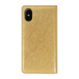 ROA ロア iPhone XS Max 6.5インチ用 Saffiano Flip Case ゴールド
