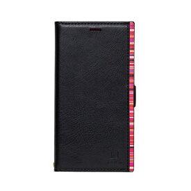 ナチュラルデザイン NATURAL design iPhone XS Max 6.5インチ用 手帳型ケース アクセントボーダー Black x