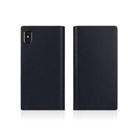 ROA ロア iPhone XS Max 6.5インチ用 Calf Skin Leather Diary ネイビー