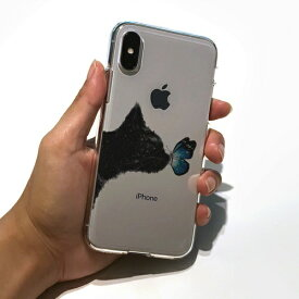 ROA ロア iPhone XS Max 6.5インチ用 ソフトクリアケース ネコと蝶々