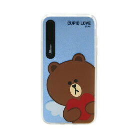 ROA ロア iPhone XS Max 6.5インチ用 LINE FRIENDS LIGHT UP CASE CUPID LOVE ブラウンハート KCL-LCL015