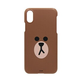 ROA ロア iPhone XS Max 6.5インチ用 LINE FRIENDS SLIM FIT FACE ブラウン KCL-SFA009