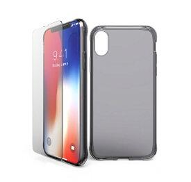 ITSKINS × MiraiSell iPhone2018 5.8inch/iPhoneX用 液晶保護ガラス付き耐衝撃ケース MSIT-P858NBK クリアブラック