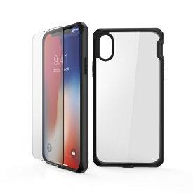 ITSKINS × MiraiSell iPhone2018 5.8inch/iPhoneX用 液晶保護ガラス付き耐衝撃ケース MSIT-P858EBK ブラック