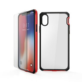 ITSKINS × MiraiSell iPhone2018 5.8inch/iPhoneX用 液晶保護ガラス付き耐衝撃ケース MSIT-P858ERD レッド