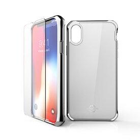 ITSKINS × MiraiSell iPhone2018 5.8inch/iPhoneX用 液晶保護ガラス付き耐衝撃ケース MSIT-P858GWH ホワイト