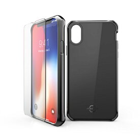 ITSKINS × MiraiSell iPhone2018 5.8inch/iPhoneX用 液晶保護ガラス付き耐衝撃ケース MSIT-P858GBK ブラック